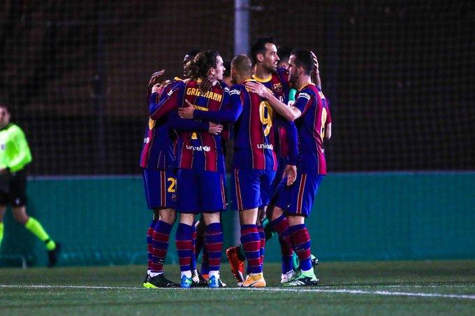 FC Barcelona viert een treffer in de Copa del Rey