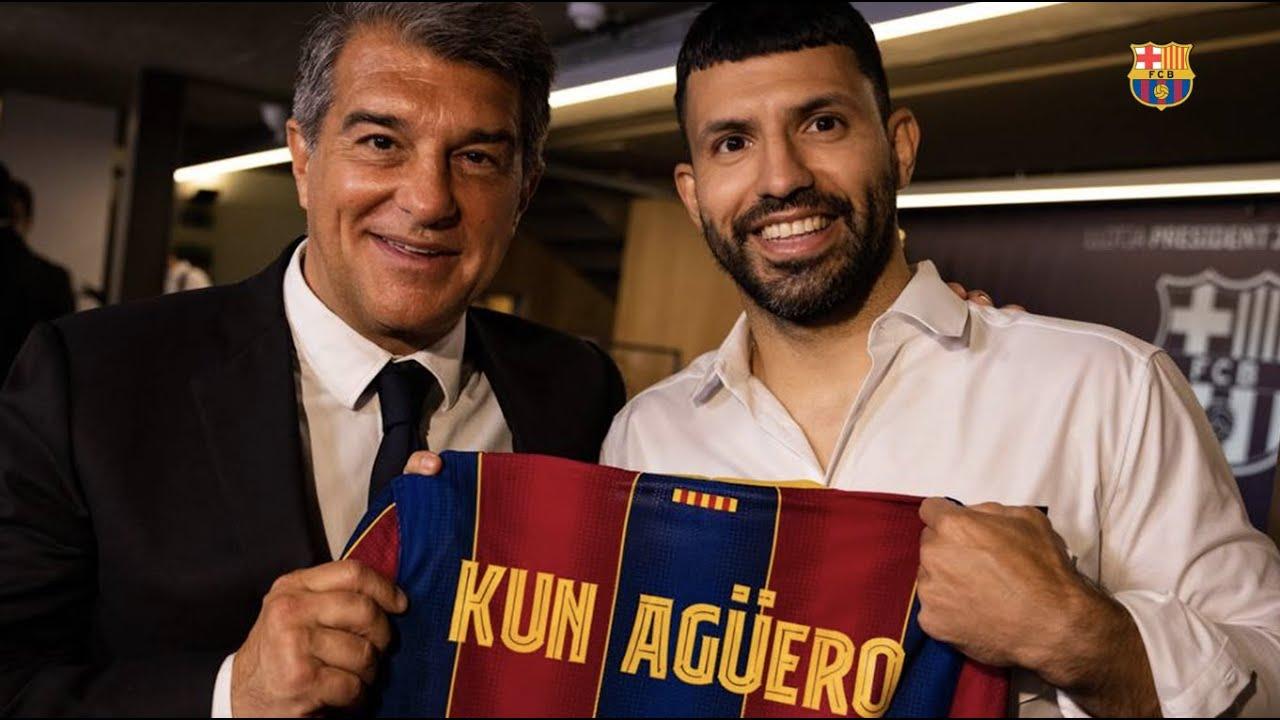 Sergio Agüero is gepresenteerd als speler van FC Barcelona